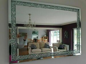 Extra large diamond crushed gems mirror 90cmx65cm lounge jewelled bedroom bling