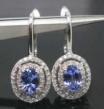2.50Ct Blue Tanzanite Halo WIth Sim Diamond Womens Earring 14k White Gold Over