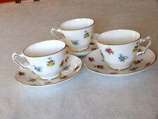 3 Vintage Royal Staffordshire Floral Design Cups & Saucers Gold Trim