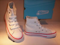 Blucode scarpe sportive alte sneakers bimbo bambino bambina tela bianche shoe 32