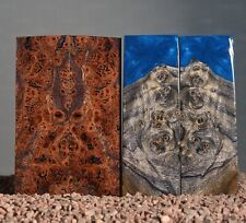4 x scales poplar and elm stabilized wood blank burl 134 x 44 x 7-10 mm.