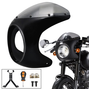 "7""Motorbike Front Headlight Cafe Racer Handlebar Fairing Windshield Vivid Black"