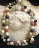 Jade Beaded Necklace  Multi-color Vintage!