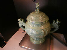 VTG c1969 SIGNED GREEN POTTERY GNOME GRIFFIN MULLED WINE GLUHWEIN TUREEN