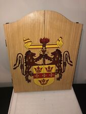New listing Vintage Wood Dart Board & Cabinet 2 Lions Crest Of Arms Man Cave Game Room Bar