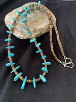 """Navajo Blue Turquoise STERLING Silver SHELL BEAD NECKLACE 20"""" 302"""