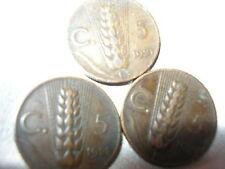 tre monete 5 Spiga Rame  Regno di Vittorio Emanuele III * 1921 * 1928 * 1929