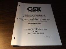 MAY 2012 CSXT EMPLOYEE TIMETABLE #1.1 WINSTON SALEM SOUTHBOUND/ HPT&D