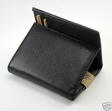 New Super A Mens Trifold Leather Wallet Multi Pockets Card Case Window ID Black