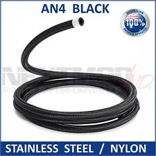-4 AN 4 4AN Stainless Steel Nylon Braided Fuel Oil Air Water Hose Line 1M 3.3FT