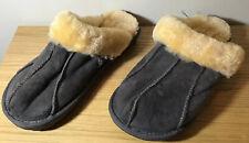 Ladies grey suedette mule slippers size L. Faux fur lined
