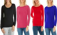 Ladies Long Sleeve T-Shirt Womens Round Neck Plain Tee Basic Top Plus Size 8-24