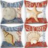"18"" Starfish Print Cotton Linen Pillow Case Cushion Cover Sofa Home Decor"