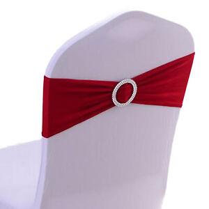 10/25/50/100x Spandex Stretch Chair Sashes Bows Band Wedding Party Banquet Decor