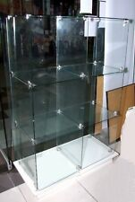 Glass display cabinet with white wooden base