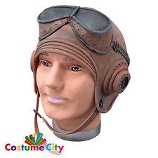 Adults World War 1 Biggles Rubber Pilot Helmet WW1 Fancy Dress Costume Accessory