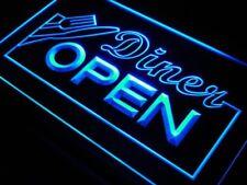 """16""""x12"""" j718-b Diner OPEN Knife Fork Cafe Neon Sign"""