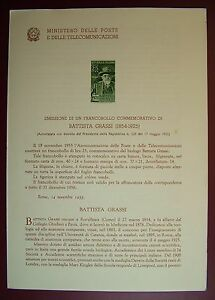 1955 Italy Bulletin Postal N°16 Baptist Fat