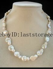 "freshwater pearl  white baroque flat necklace  17""  nature wholesale beads fash"