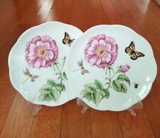 """2 LENOX BUTTERFLY MEADOW BLOOM ACCENT SALAD PLATES 9"""" PINK FLOWERS NEW"""
