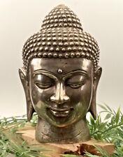 Buddha-Kopf, H. ca.21 cm, Bronze, Skulptur, Figur, Relief, Feng Shui