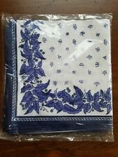 Set of 4 WILLIAM SONOMA 100% COTTON NAPKINS ~ Blue & White