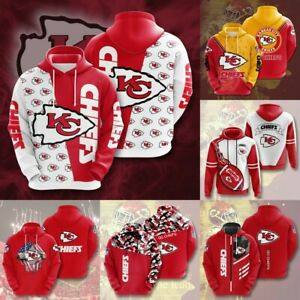 Kansas City Chiefs Hoodie Pullover Hooded Sweatshirt Fans Sportwear Jacket Gift
