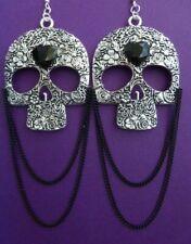 GOTHIC DAY OF THE DEAD XL SILVER SKULL CHANDELIER EARRINGS & BLACK HEART & CHAIN
