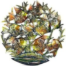 Global Crafts 24-Inch Painted School of Fish Metal Wall Art