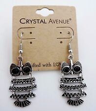 Owl earrings dangle silver metal black eyes Crystal Avenue