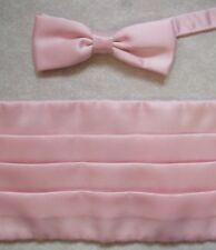 "Cummerbund Mens Pleated Sash & BOW TIE PALE ROSE PINKUP TO 44"" WAIST"