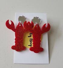 Statement dangle stud acrylic red glitter pinchy lobster earrings silver mirror