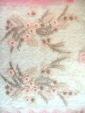 "Embroidered 3D Dance Appliques Pink Taupe Floral Mirror Pair 13"" (DH76)"