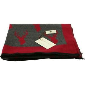 HOUSE OF TWEED RED & GREY STAG SCARF