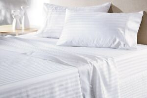 Cushy Bedding 4 PCs Sheet Set 1000 TC Egyptian Cotton White Striped Queen Size
