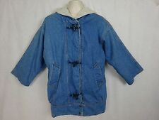 Vtg Women's Denim Hooded Coat / Jacket ~ Toggle Buttons ~ Sherpa Lined ~ Canada