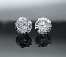 4CT Lab Diamond Stud Earrings 14K White Gold Martini Prong Solitaire Round