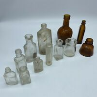 """Lot of 12 Small Vintage Apothecary Medicine Bottle Amber & Clear 1 5/8"""" to 3.5"""""""