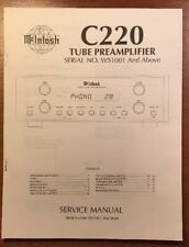 MCINTOSH C220 TUBE PREAMPLIFIER SERVICE MANUAL P235