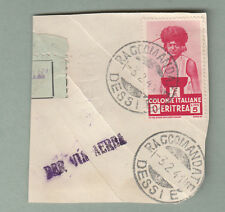 FRANCOBOLLO Frammento Colonie Eritrea L. 5 1933 S. Africani  RACCOMANDATA DESSIE