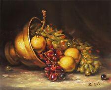 "New Original Oil Painting Still Life Realism Copper w Lemon Grape 8x10"" Signed"