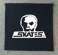 SKULL SKATES Punk Logo Skateboard Patch 5.1in white on black SEW ON PATCH si