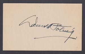 Daniel A. Poling, WWII Chaplain, Clergyman, Politician. Signed  5x3 card.