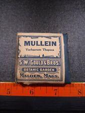 Vintage Mullein Crude Drugs Packet S. W. Could & Bros. Botanic Garden.