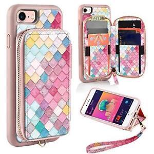 iPhone 8/7 Wallet Case Zippered Leather Handbag Wrist Strap Purse Mermaid Wall
