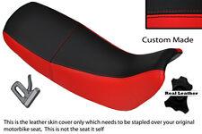 Rouge & noir custom fits honda nx 650 dominator 92-01 double housse siège en cuir