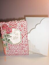 "Carol's Rose Garden - Happy Birthday ""To my Wife"" card - 2 red roses on cover"