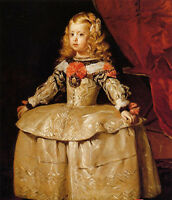 Oil painting Diego Velazquez - Infanta Margarita Young girl in dress canvas