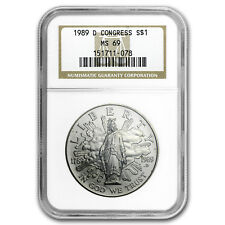 1989-D Congress Bicentennial $1 Silver Commem MS-69 NGC - SKU#51755