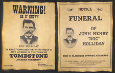 Doc Holliday Poster Set  - Practicing Dentistry Warning & Funeral, wanted